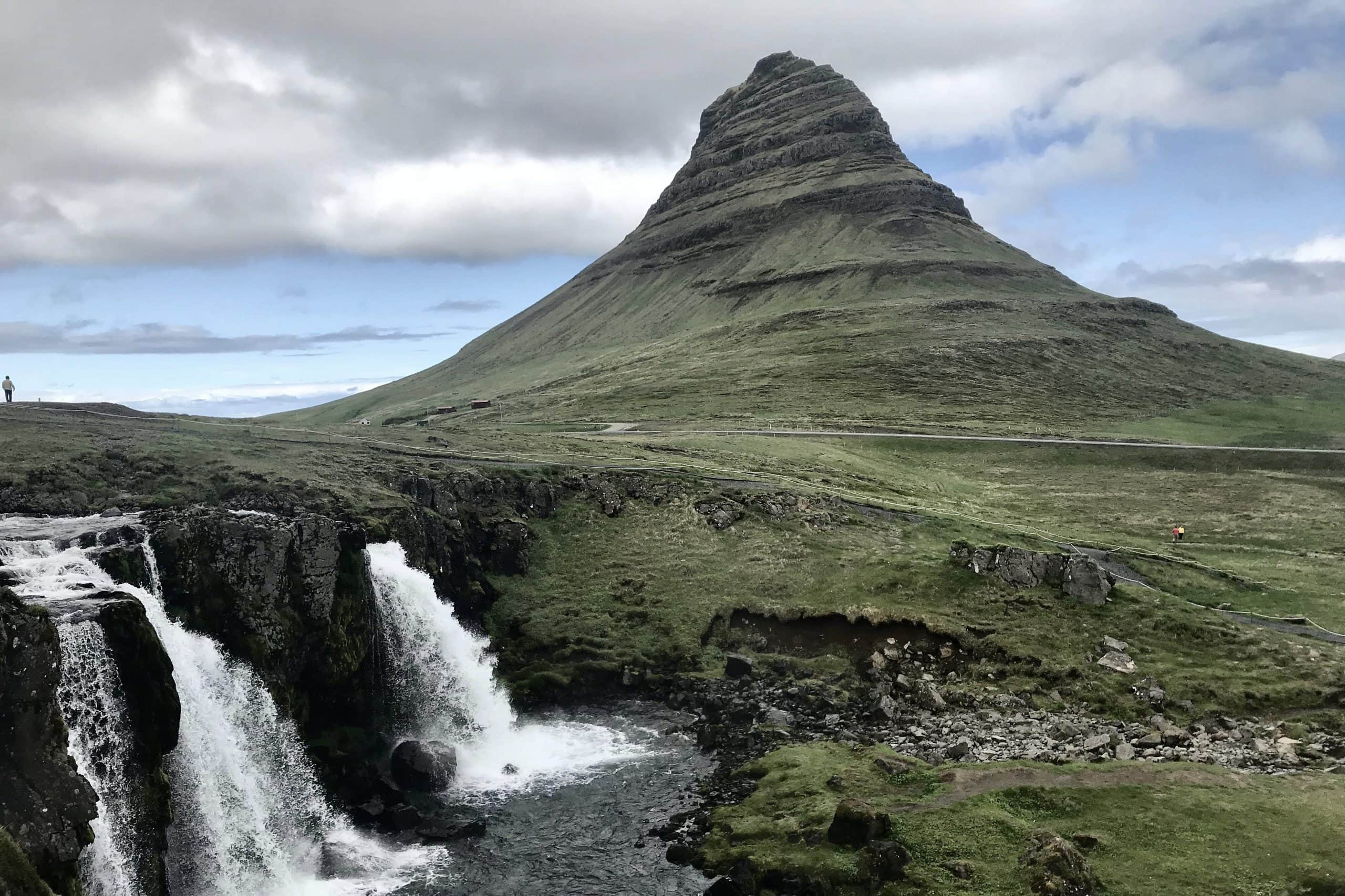 Kirljufell mountain in the Snæfellsnes peninsula iniceland, shaped like a witch's hat
