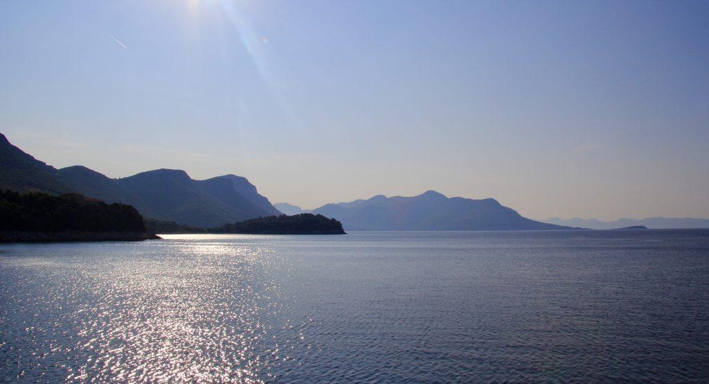 Craggy mountains and coastline sailing in the Dalmatian Coast in Croatia