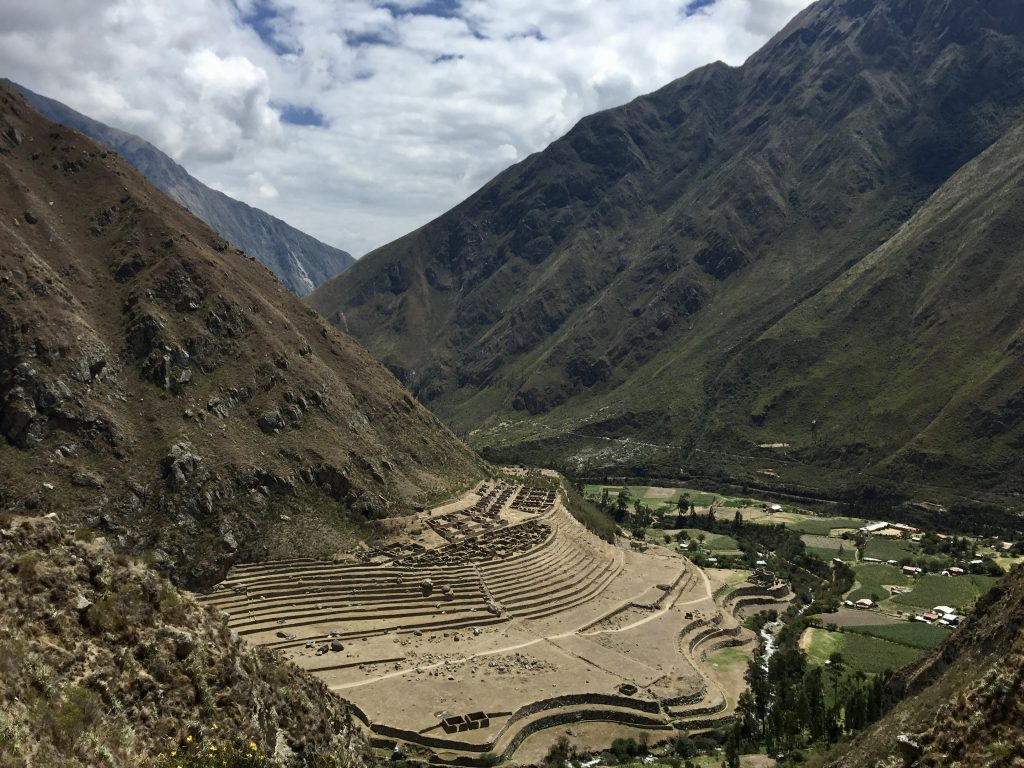 Inca terraces and settlement at patallacta on the inca trail in peru
