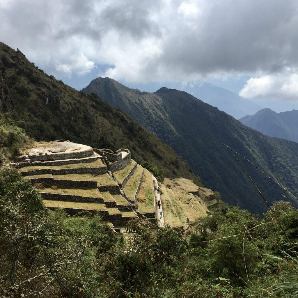 Inca ruins and terraces at Phuyupatamarca on the inca trail in peru