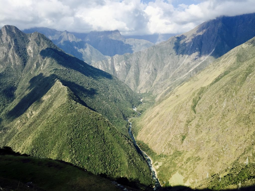 View of steep mountains from terraces of Intipata on the inca trail in peru