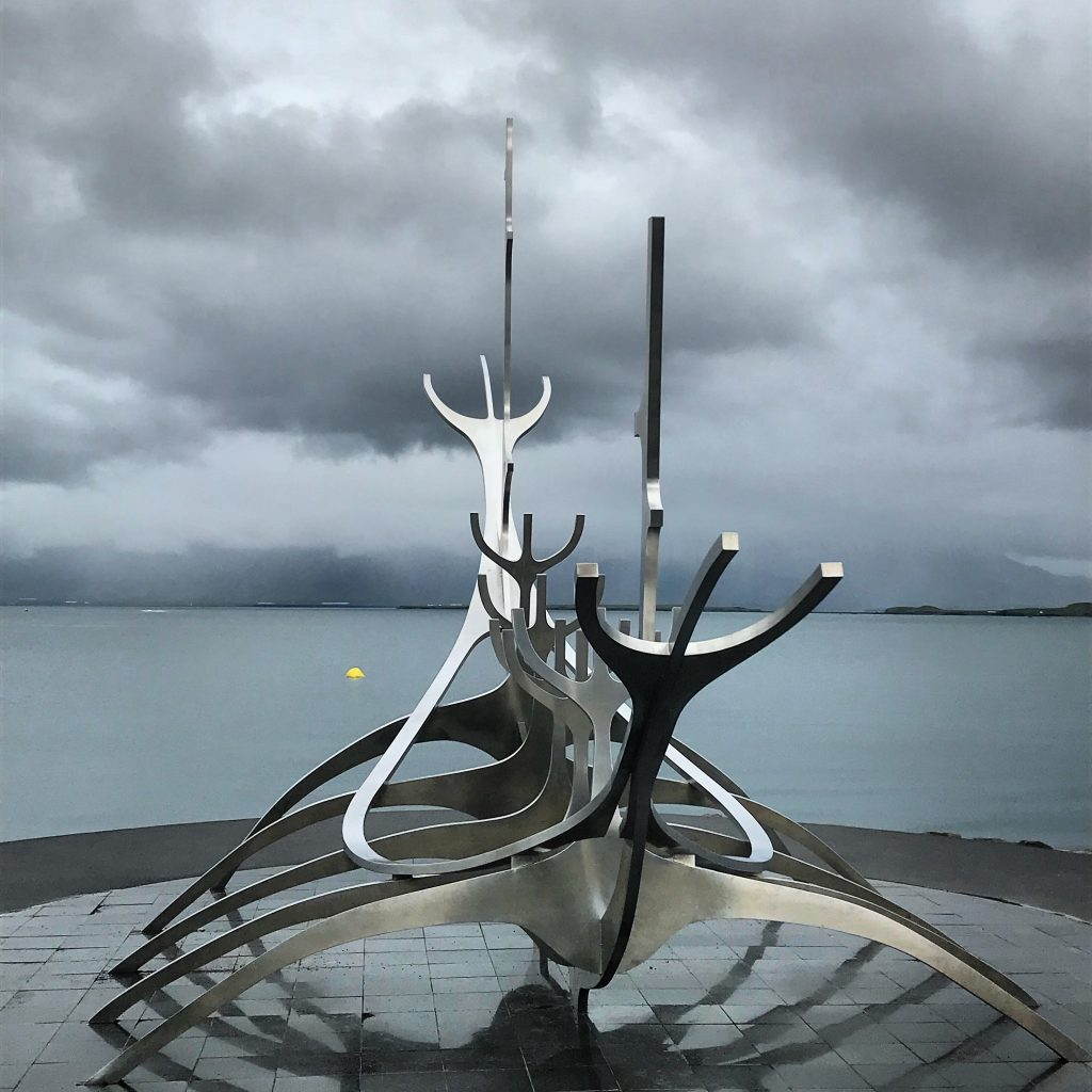 Sun Voyager sculpture tribute to a viking ship in Reykjavik in Iceland