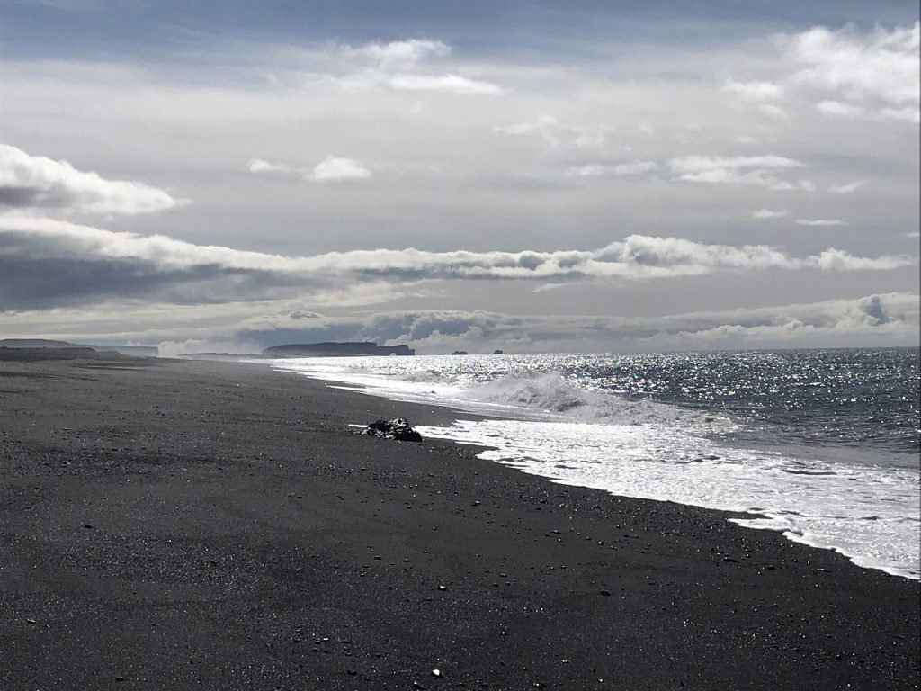 black sand beach at Sólheimasandur in south iceland