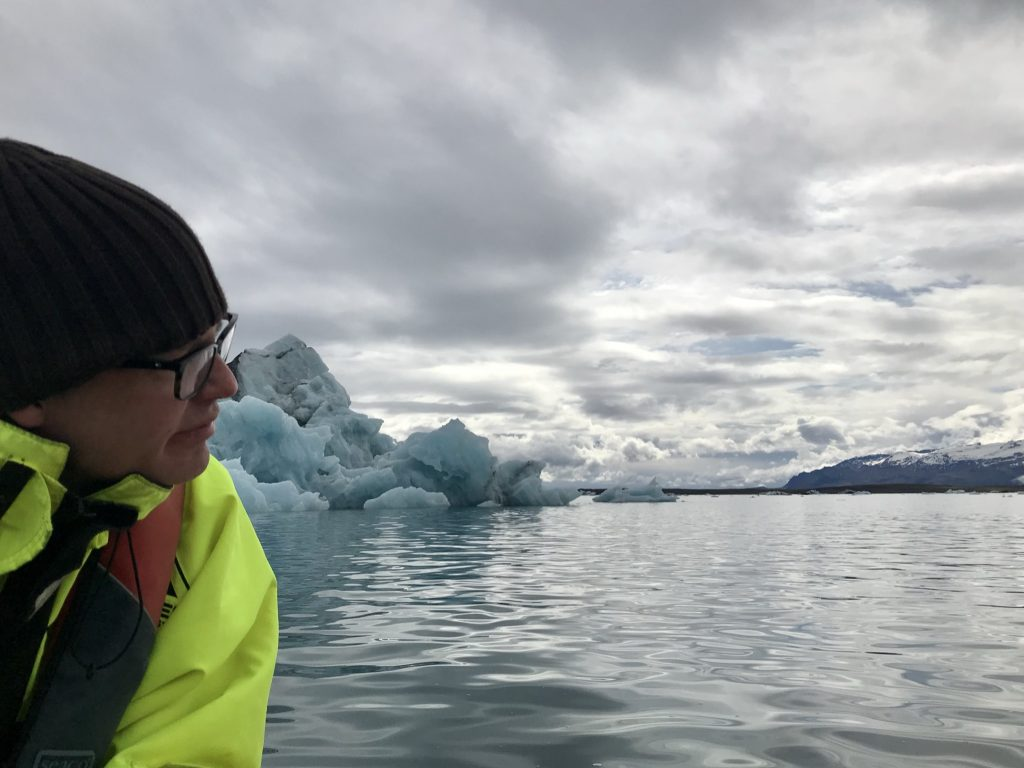 icebergs seen from a boat during a boat tour of Jökulsárlón glacial lagoon in Iceland
