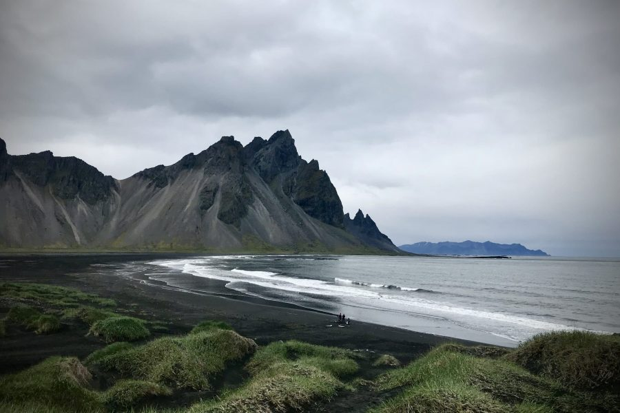 Craggy mountain and black sand beach at Vestrahorn in Iceland