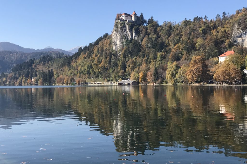 Bled Castle high on a clifftop above lake bled