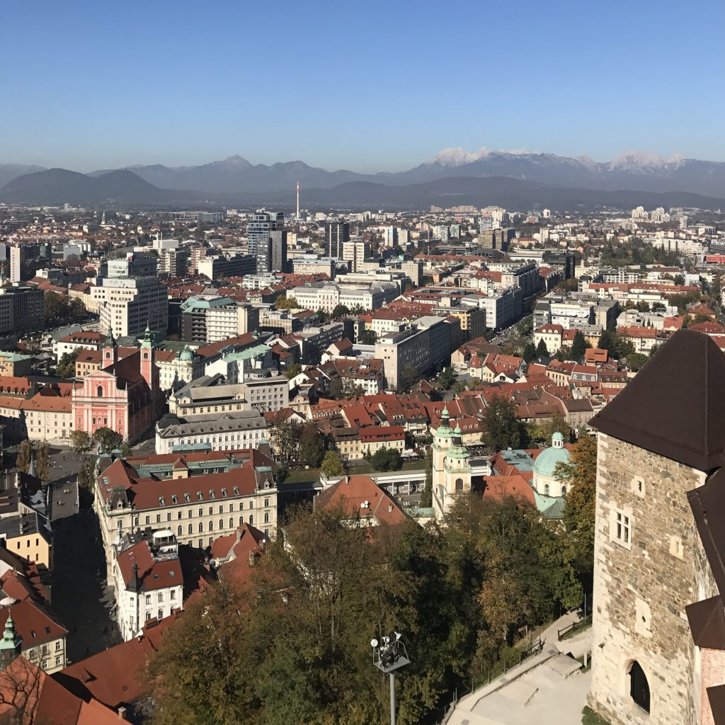 View from Ljubljana castle overlooking the city and the mountains