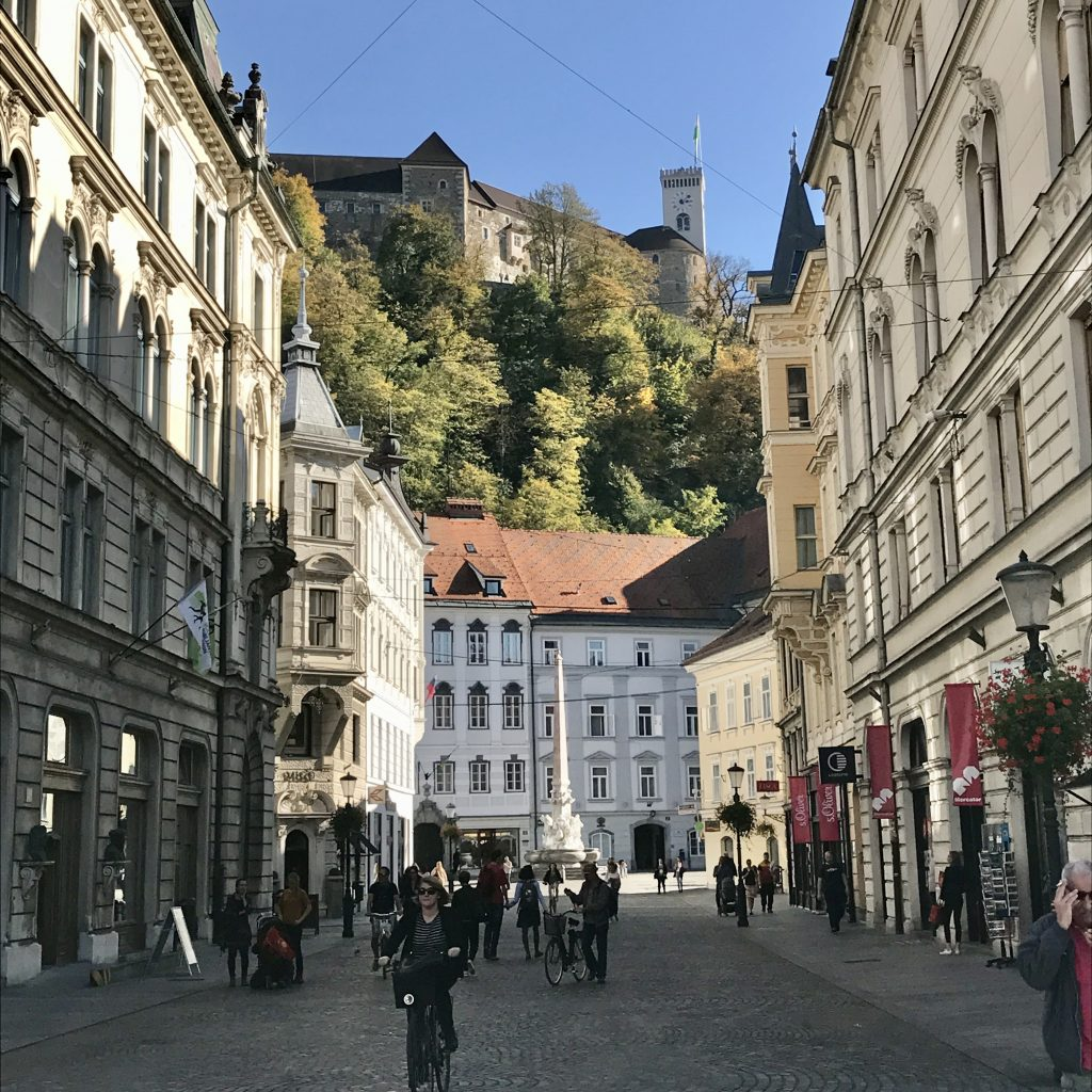 Ljubljana castle high on it shill overlooking the old town