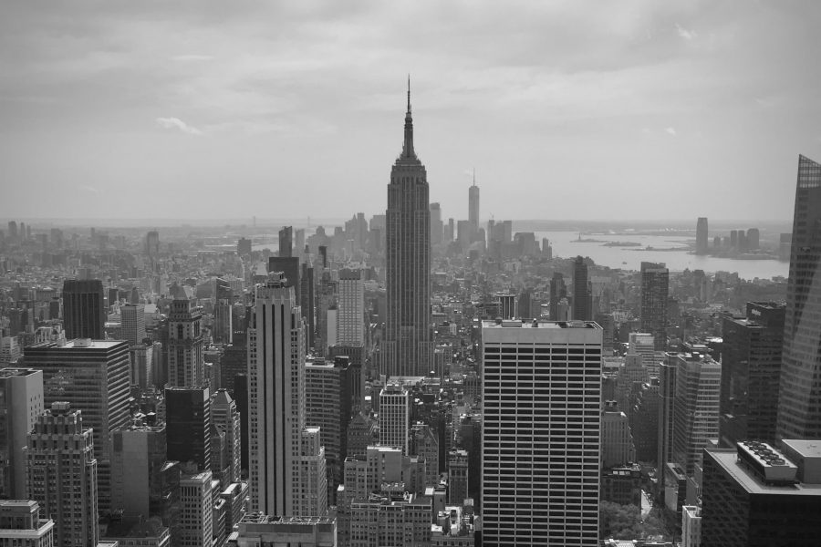 new york city skyline with the empire state building in the centre in black and white