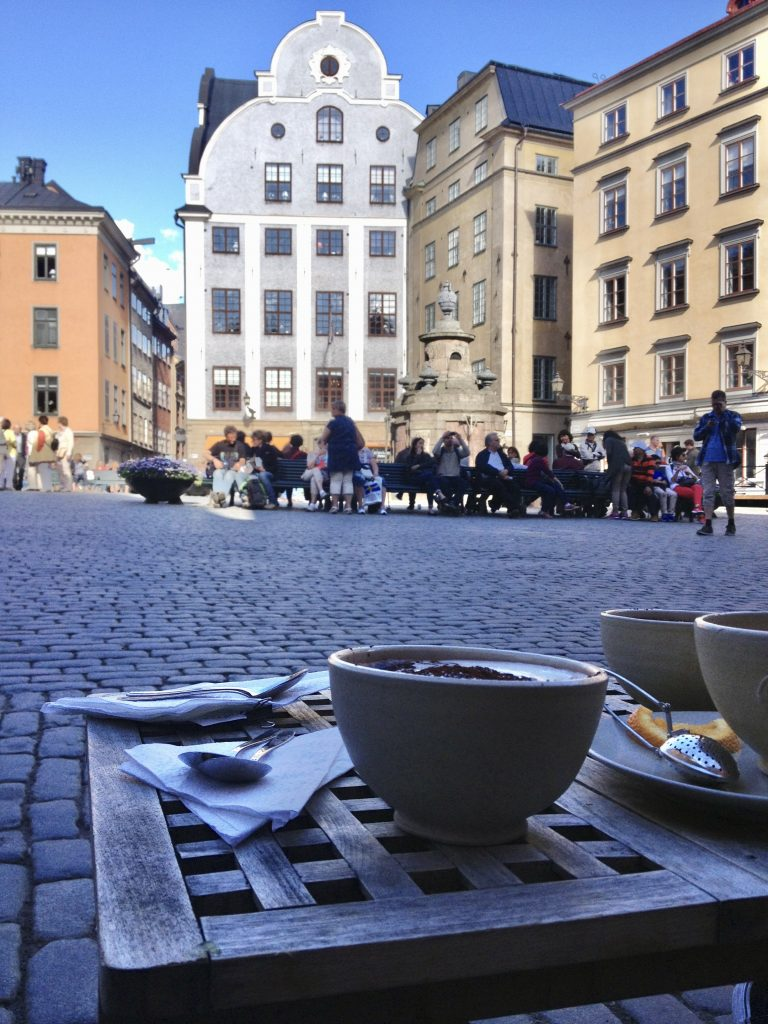 Cafe overlooking square in Gamla Stan, Stockholm's old town