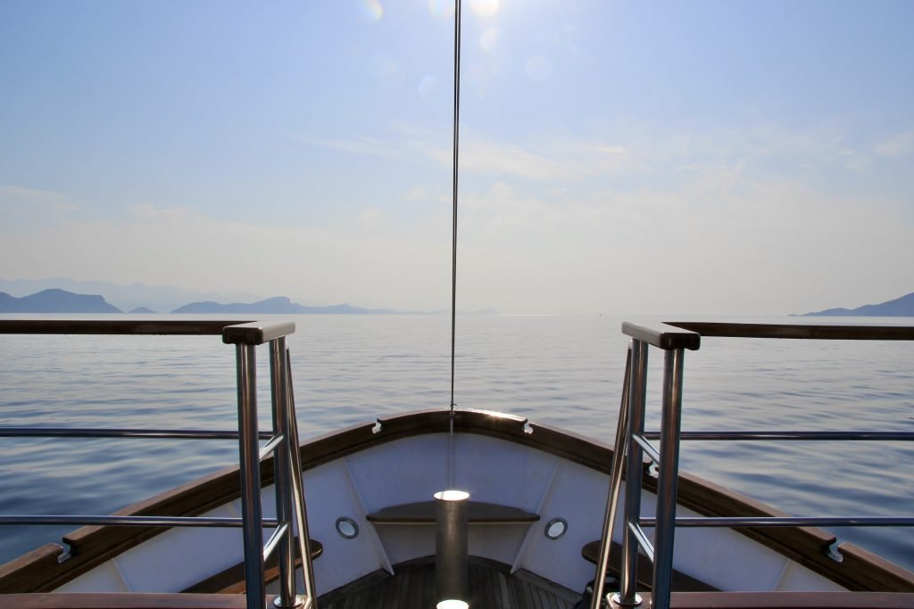 View of the Adriatic ocean from the front of a boat in Croatia