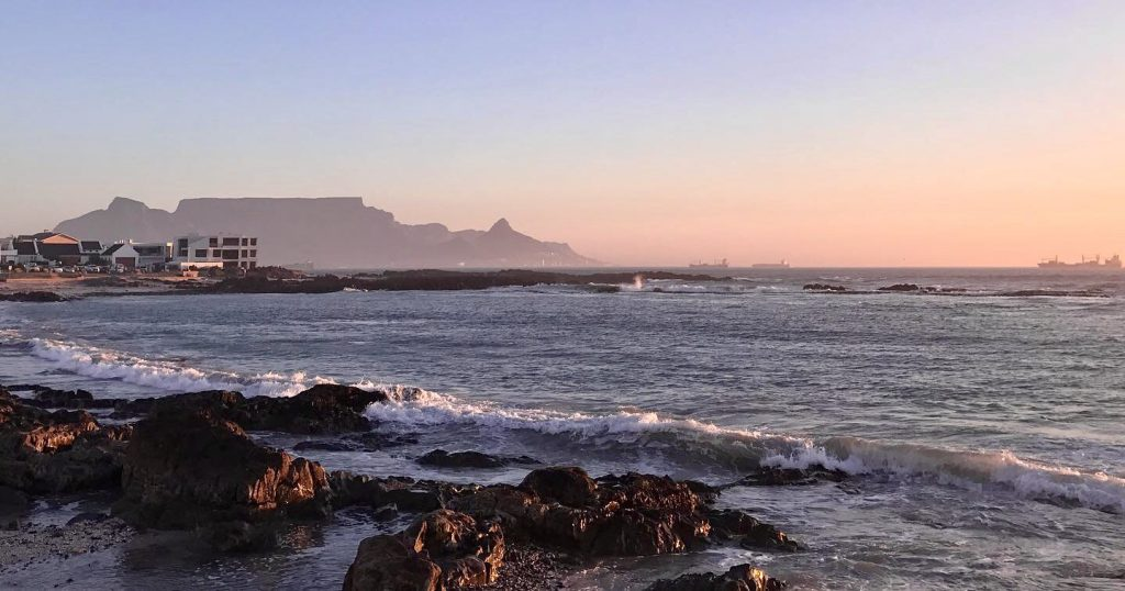 Table Mountain in the light of the setting sun in Cape Town South Africa