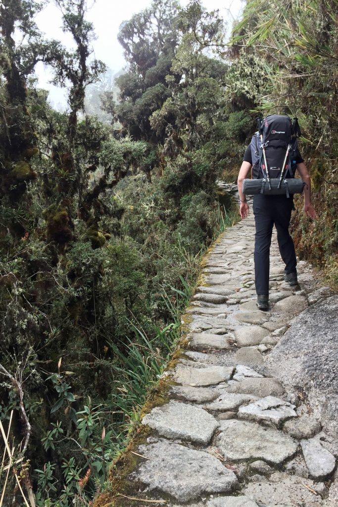 Hiker on a narrow stretch of the inca trail with a sheer drop to the side