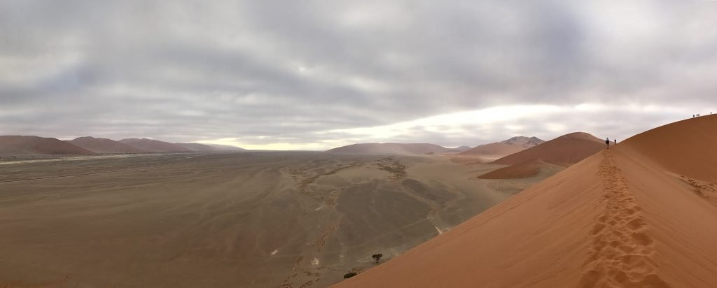 Looking east along the Tsauchab corridor from the top of Dune 45 in the namib desert namibia