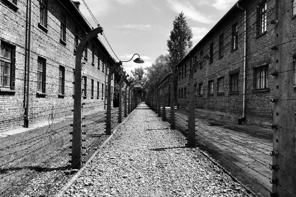 Electric fences between the prisoners; barracks and the Nazi buildings at Auschwitz I