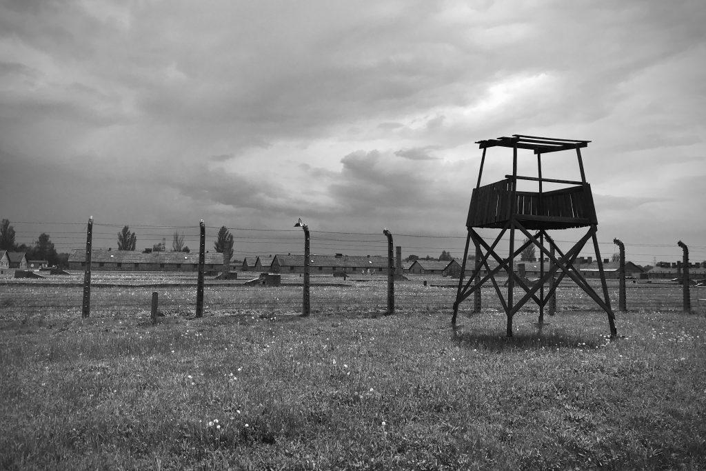 Guard tower overlooking the extermination camp at Auschwitz-Birkenau