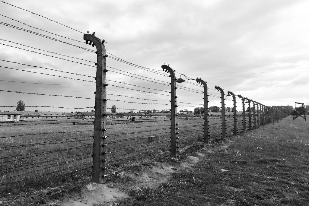 electric Fences and prison barracks at Auschwitz-Birkenau - one of the things to expect when visiting auschwitz