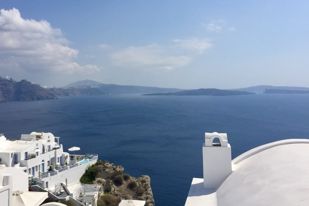 View of santorini's caldera from the town of Oia