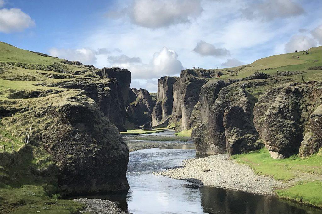 craggy Fjaðrárgljúfur Canyon in South-East Iceland