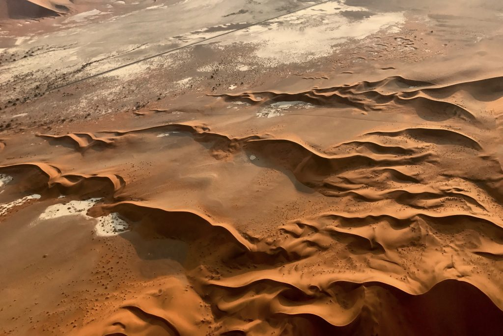 rippled dune formation in Sossusvlei seen from the air