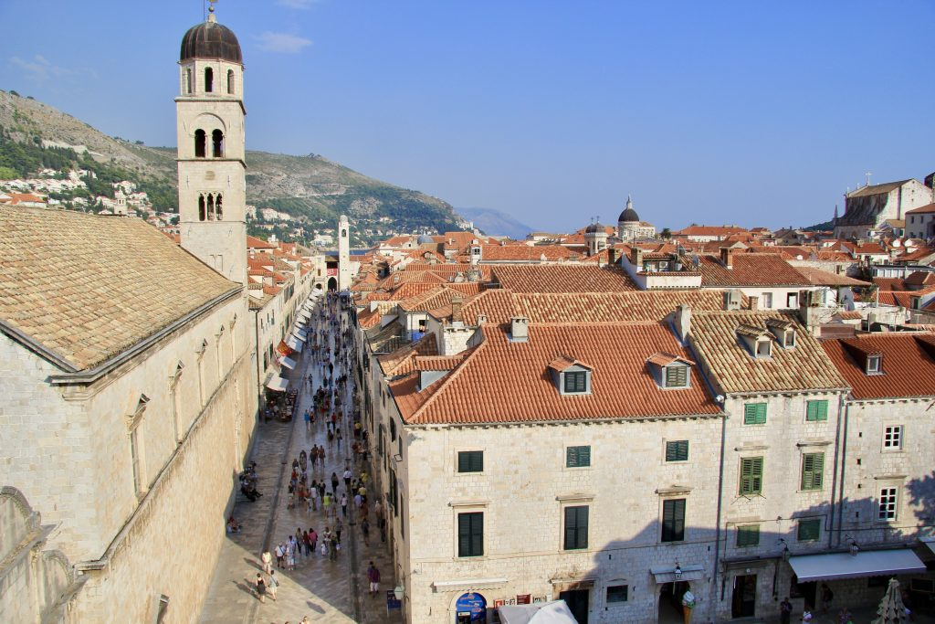 the main street of Dubrovnik's old town seen from the city walls