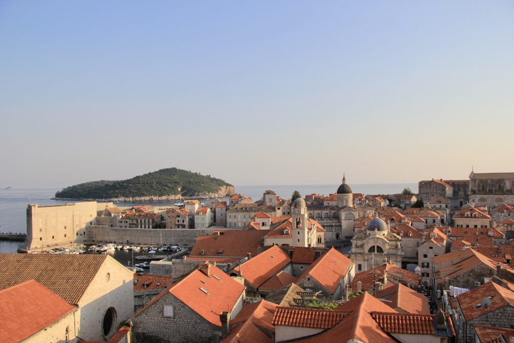 Dubrovnik and Lokrum island flowing in the sunset