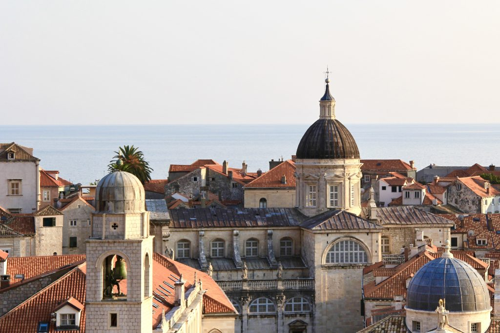 Red rooftops and domed churches in the old town of Dubrovnik in Croatia