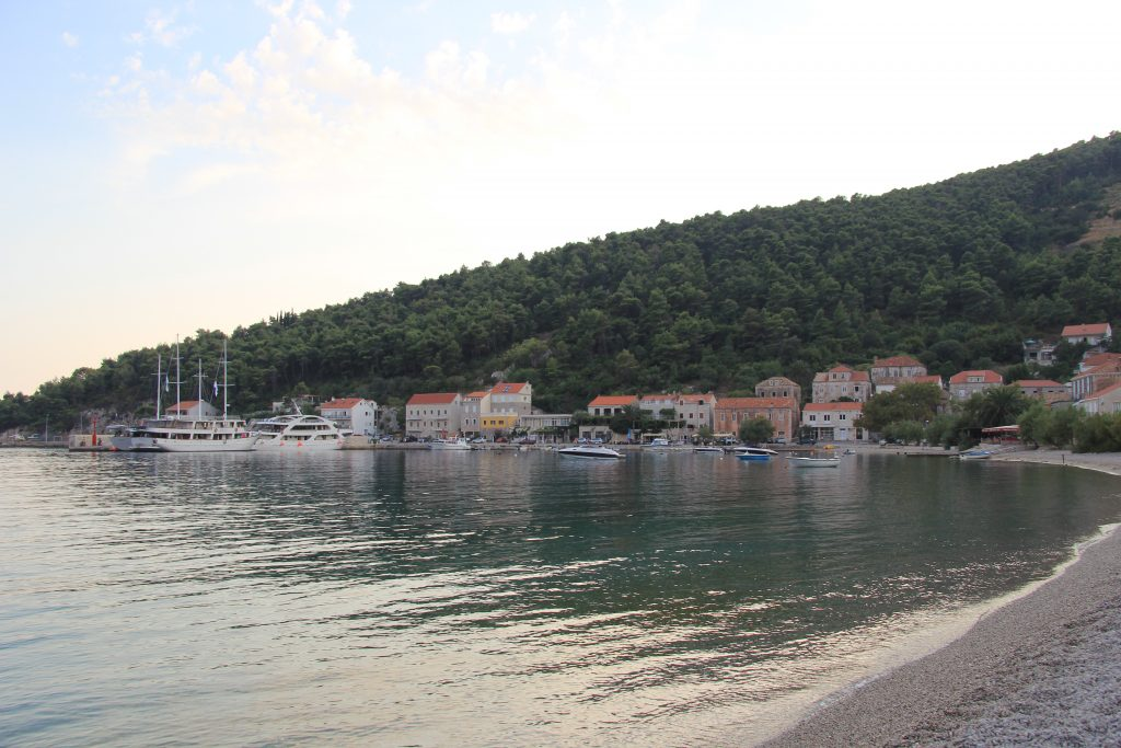 The quiet harbour and calm water in Trstenik on the Dalmatian Coast