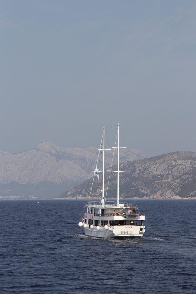 Small ship sailing the Adriatic sea in Croatia