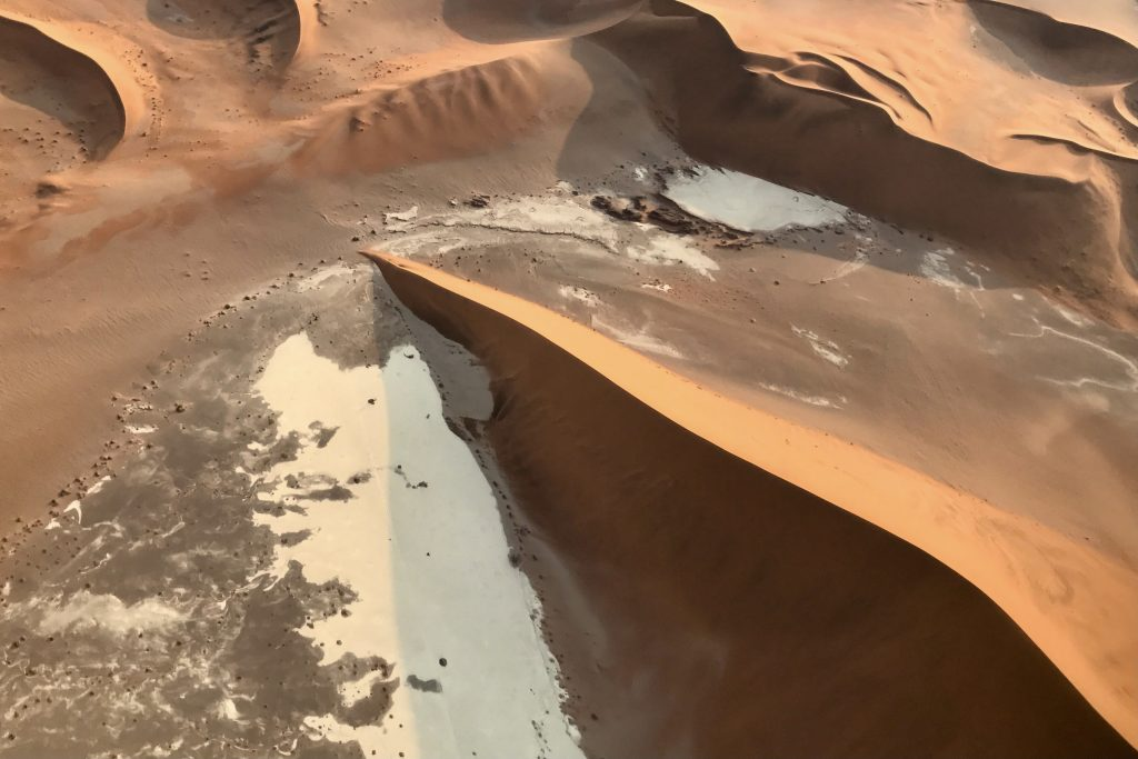 Sand dunes and clay pans in the Sossusvlei area seen from a scenic flight