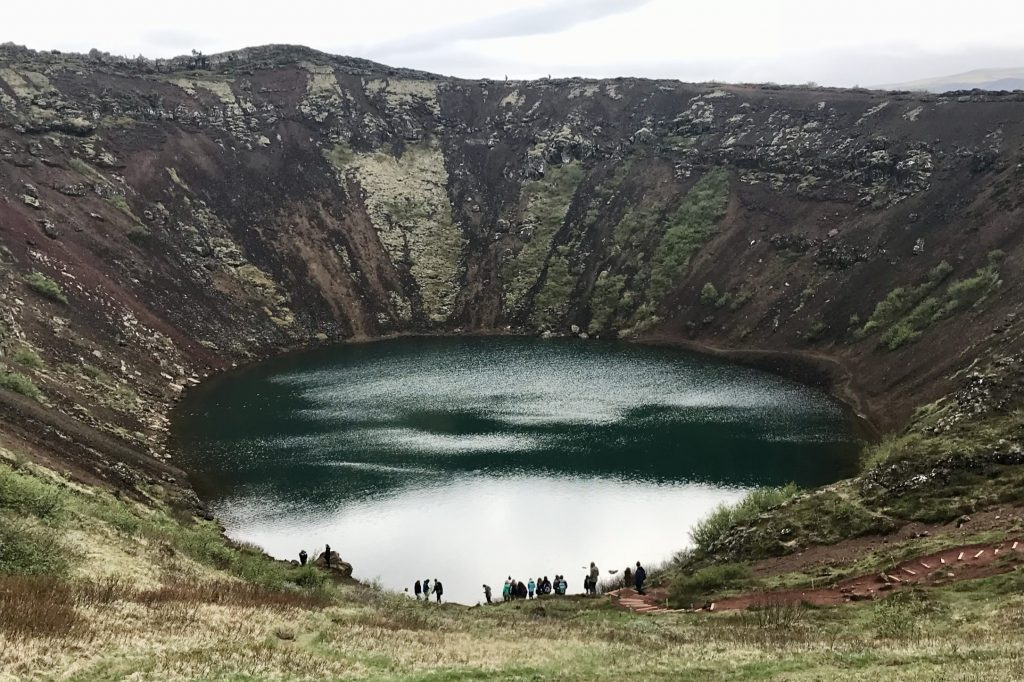 Kerið crater and its crater lake in south Iceland