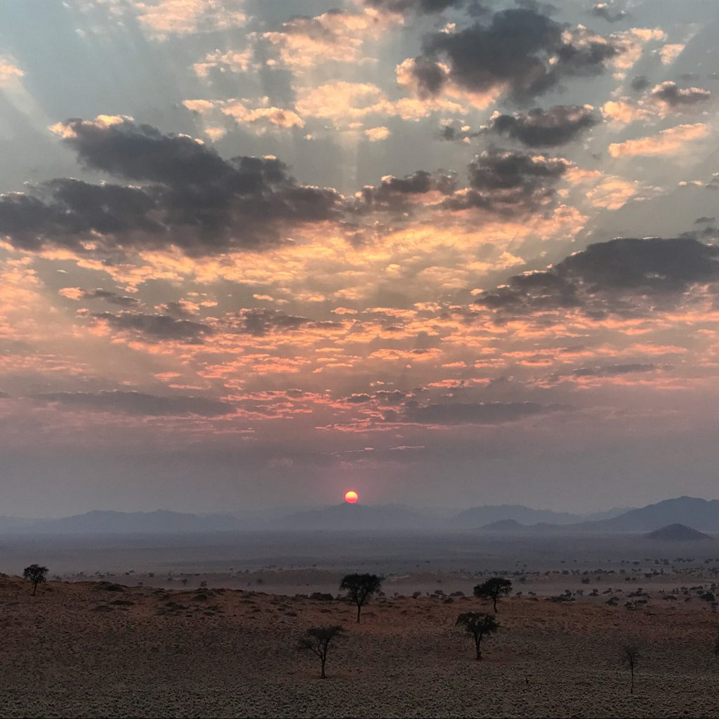 Sunrise over the sand dunes in the NamibRand Nature Reserve