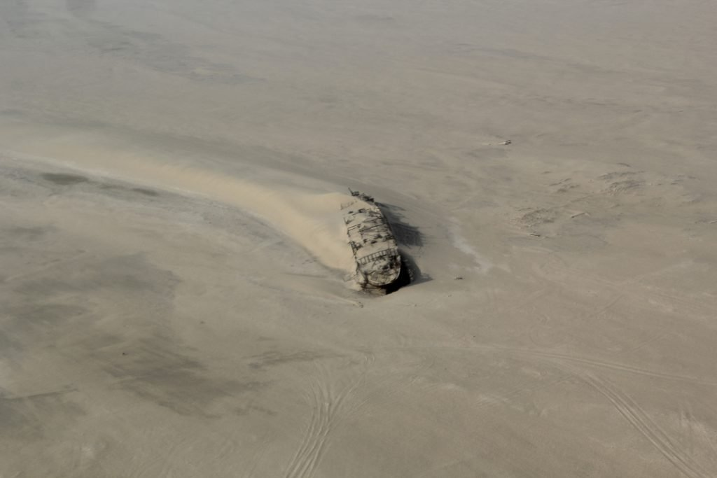 shipwreck of the Eduard Bohlen from a scenic flight over namibia