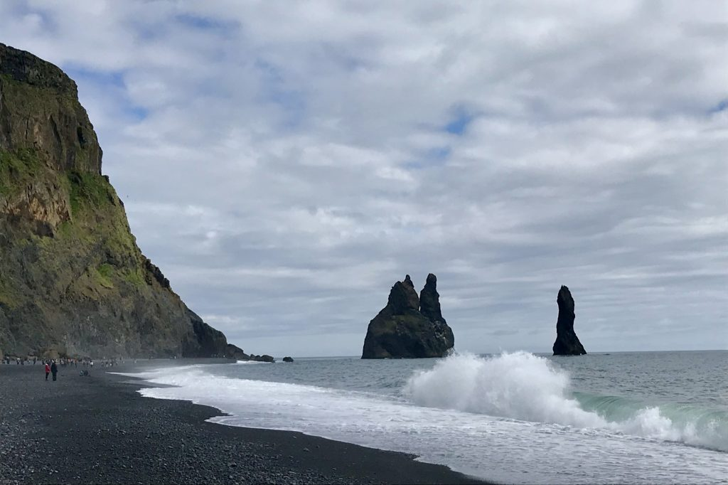 Reynisfjara beach and its craggy sea stacks in south iceland