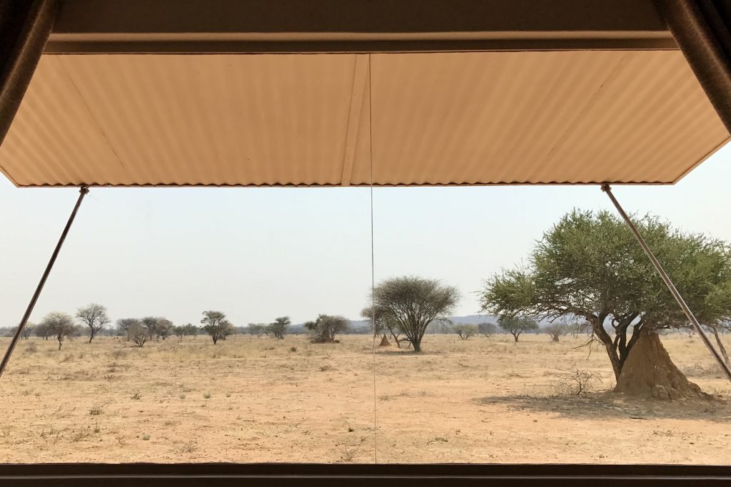 View from a chalet in the Plains Camp in Okonjima nature reserve