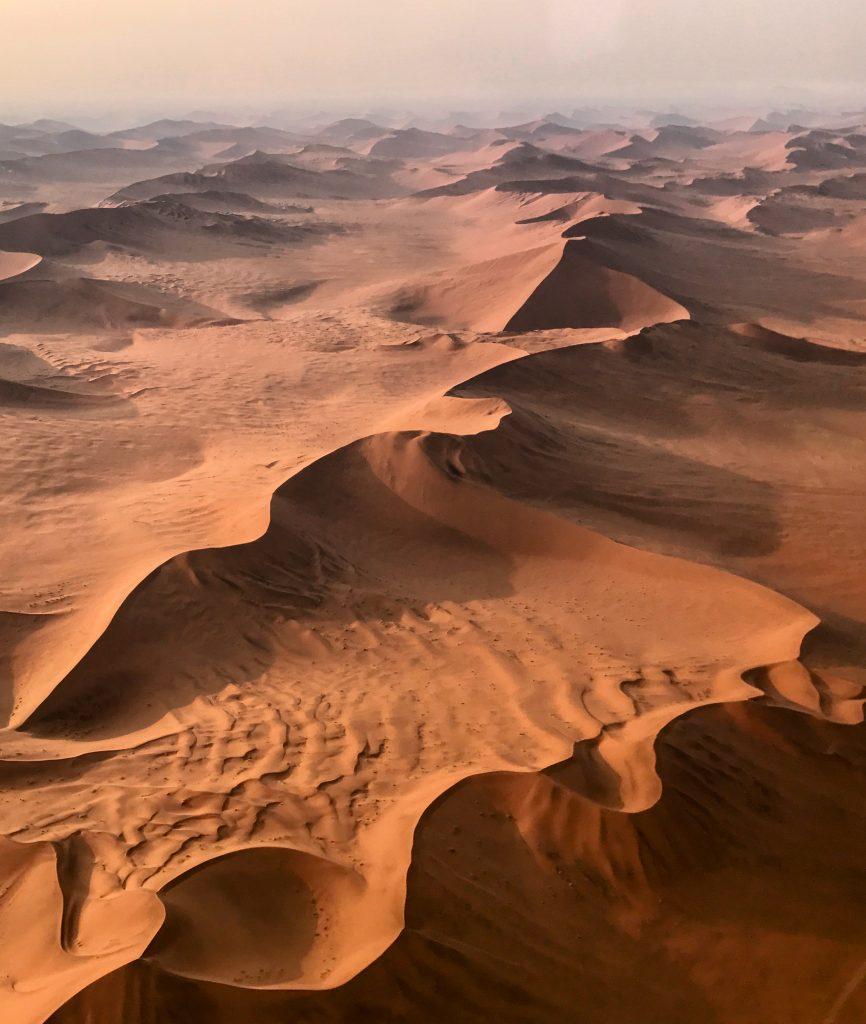 snaking red sand dunes in the namibdesert