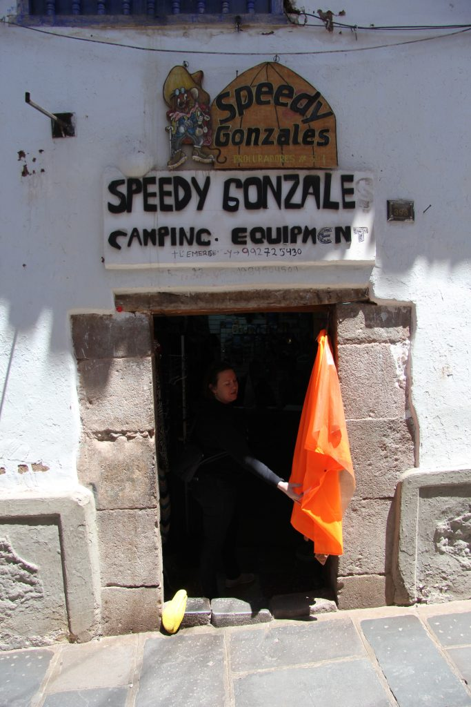 Speedy Gonzales camping shop doorway in Cusco Peru
