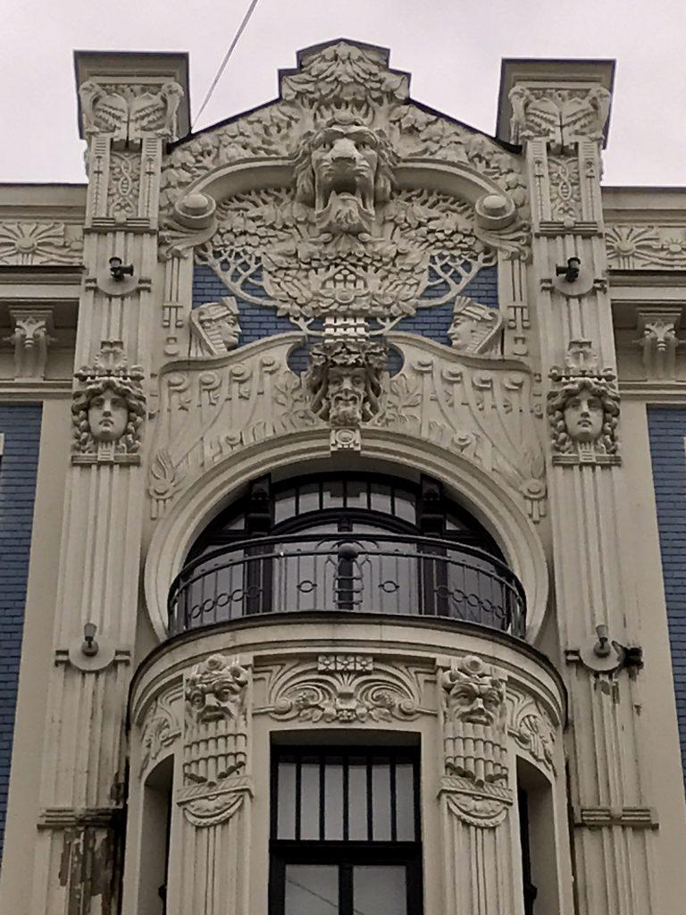 ornate art nouveau facade at 8 Alberta Iela in Riga Latvia