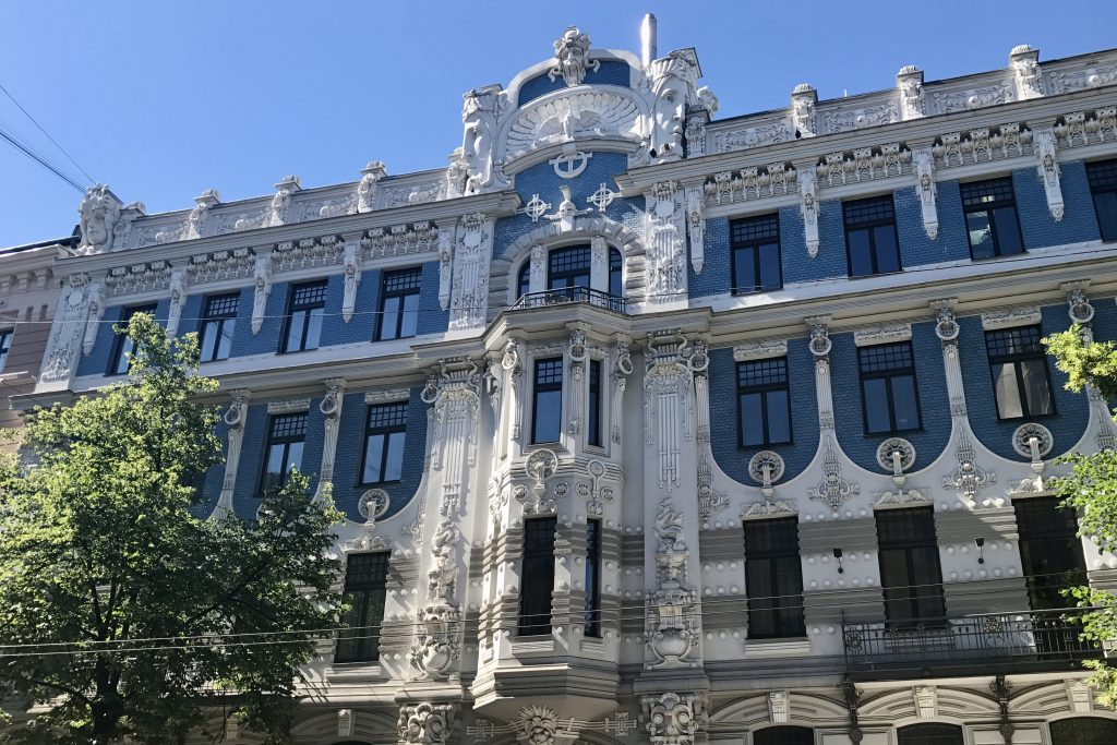 The blue and white art nouveau mansion at 10b Elizabetes iela in riga latvia