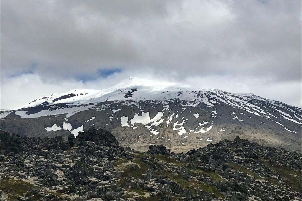 Snæfellsjökull volcano and its icecap in the Snæfellsnes peninsula in Iceland