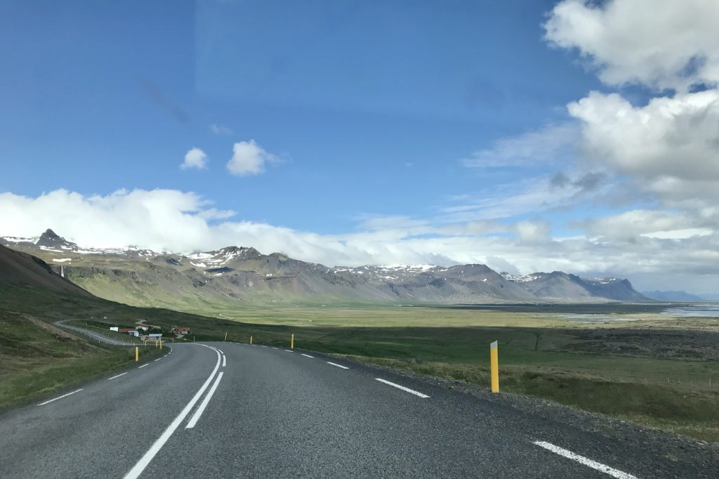 Epic views of mountains along Route 54 heading east on the south coast of the Snæfellsnes peninsula