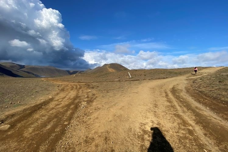Hiking paths to the lava pool in the Nátthagi valley and up the hillside to see the crater