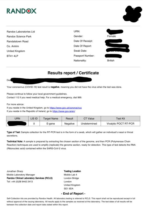 Example of a negative PCR test certificate which is required before travelling to Iceland