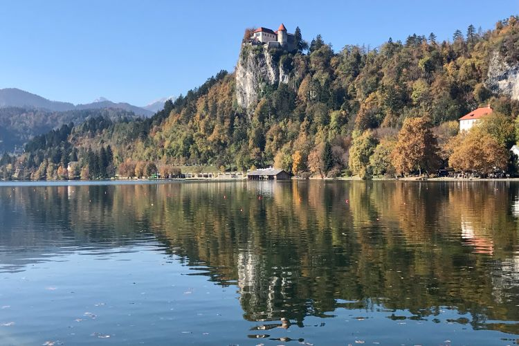 Bled Castle high on a clifftop overlooking Lake Bled