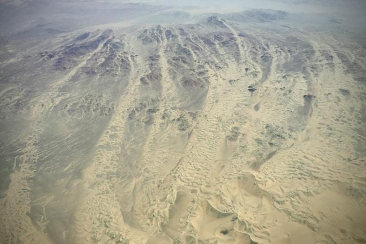 Sand dune system in the desert near Nazca in Peru