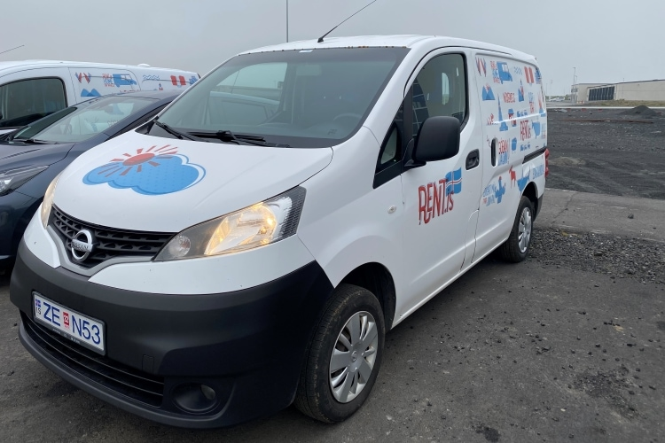 White campervan with Rent.is branding