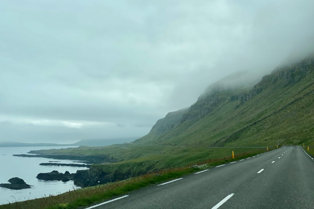 Iceland's Ring Road on the craggy coastline of east iceland