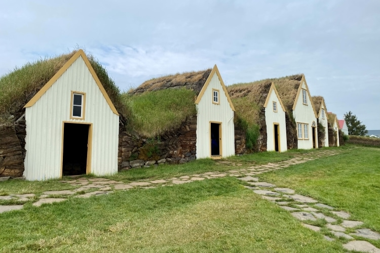 Farm buildings with traditional turf roofs and walls in Glaumbær in North Iceland