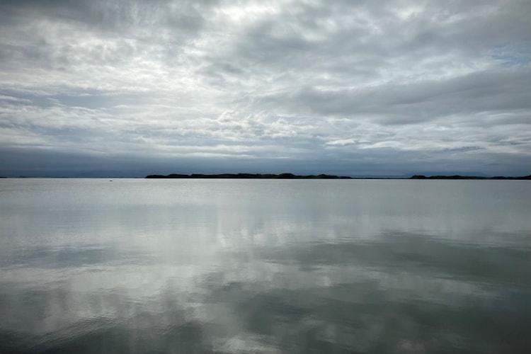 Myvatn Lake reflecting the sky like a huge mirror