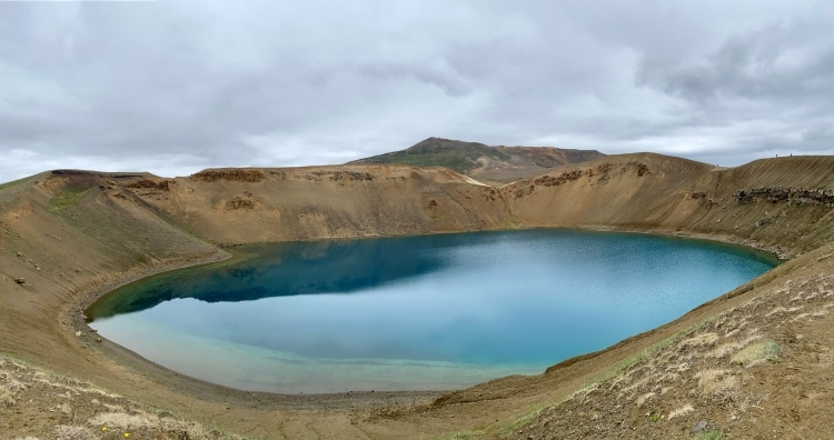 turquoise water in Víti crater lake in north iceland